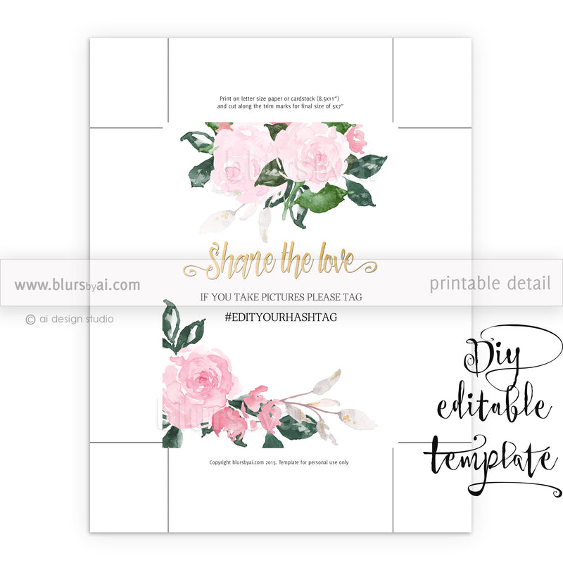 Hashtag sign template featuring pink floral accents