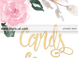 Cards and gifts, printable sign featuring roses and faux gold foil