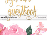 Please sign our guestbook, printable sign featuring roses and faux gold foil