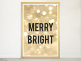 "Merry & Bright Christmas decoration in gold glitter, large 22x28"" & 20x30"""