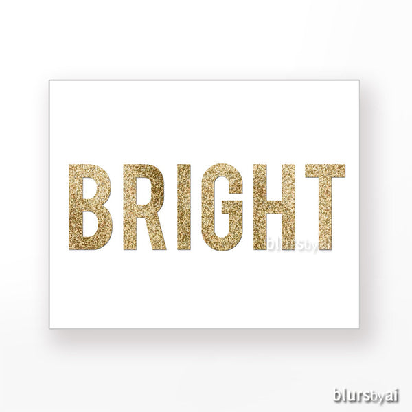 Bright gold glitter word printable holiday decor blursbyai for Decoration word
