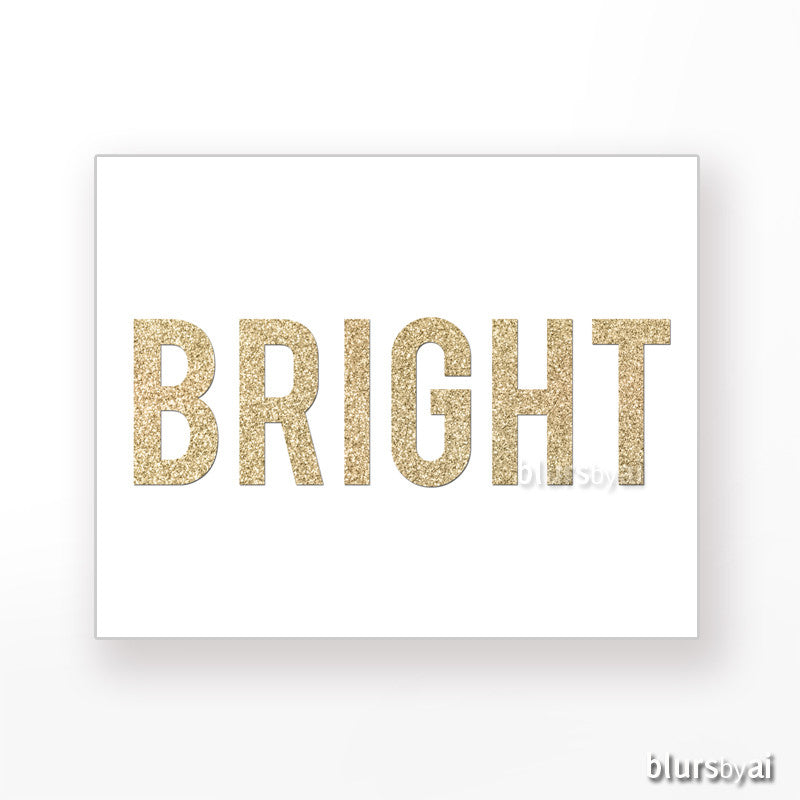 Bright gold glitter word printable holiday decor