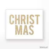 Christmas gold glitter typography printable decor
