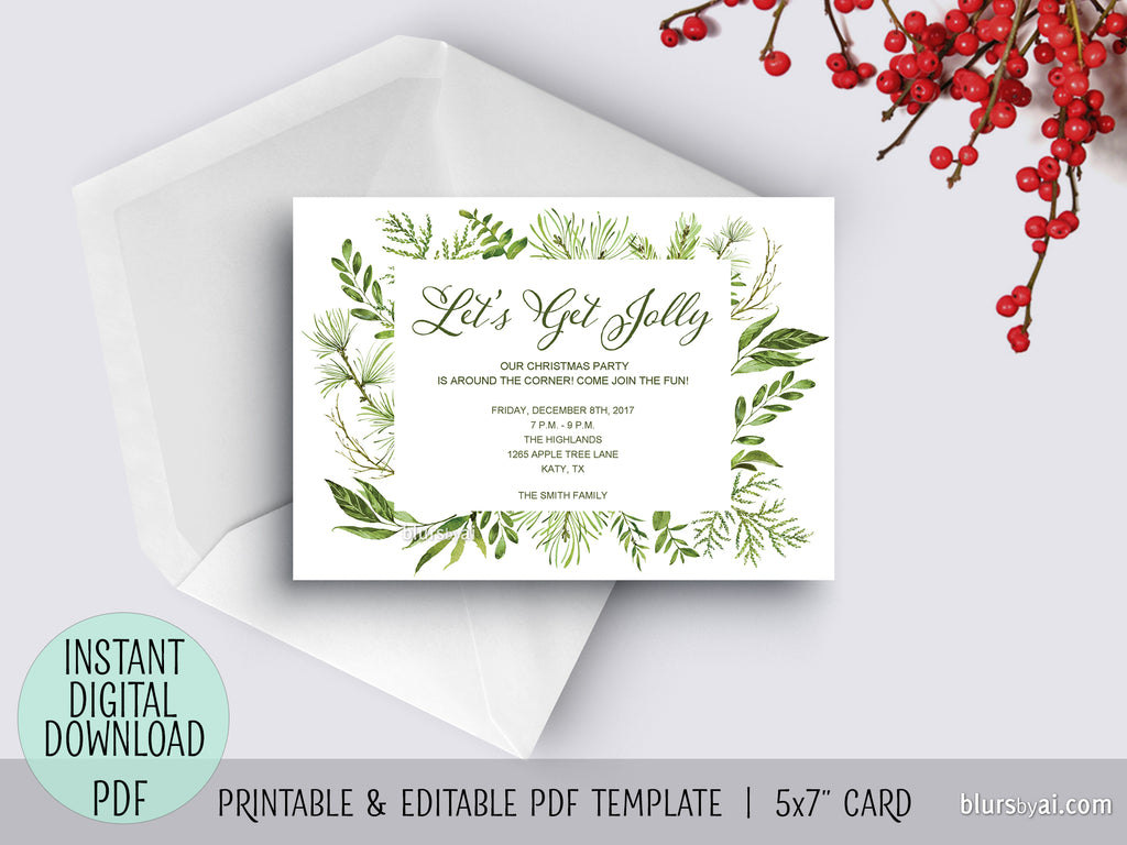 "Editable pdf Christmas party invitation template: watercolor greenery ""Let's Get Jolly"""
