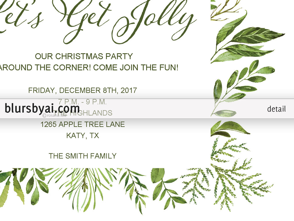 Editable Pdf Christmas Party Invitation Template Watercolor Greenery Lets Get Jolly