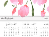 "8x10"" and 16x20"" printable 2019 calendar with pink watercolor poppies"
