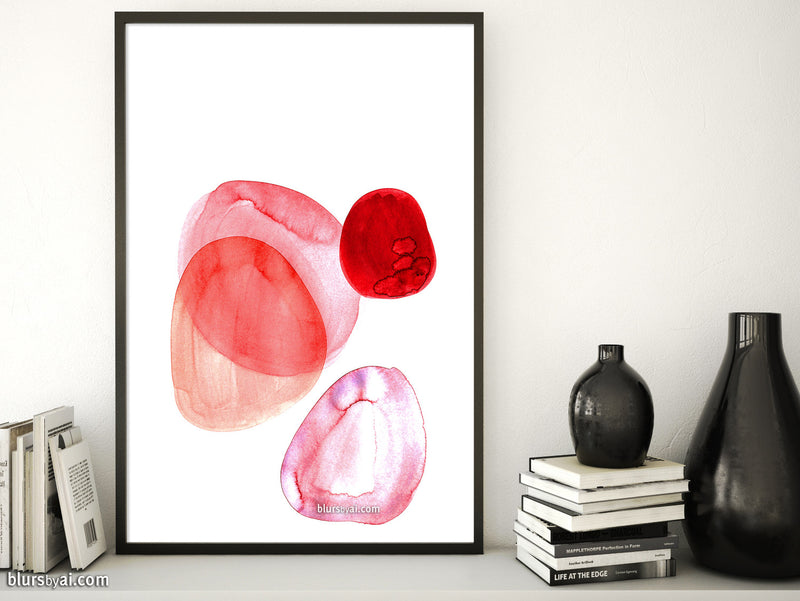 Printable abstract wall art: soft shapes in red, pink and coral #1