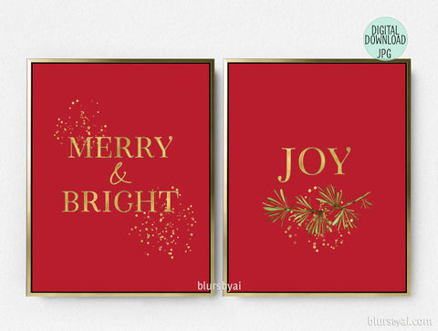 Printable holiday decoration: merry and bright and joy in red and gold, set of two.
