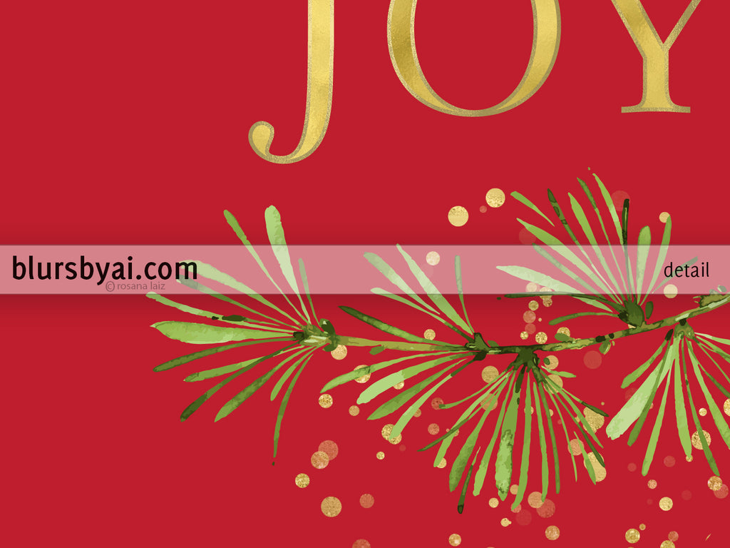 Printable holiday decoration: merry and bright and joy in red and gold, set of two. - Personal use
