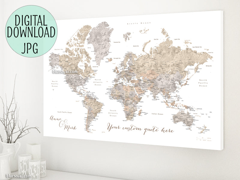Personalized world map printable art earth tones watercolor custom quote earth tones watercolor printable world map with cities capitals countries gumiabroncs Choice Image