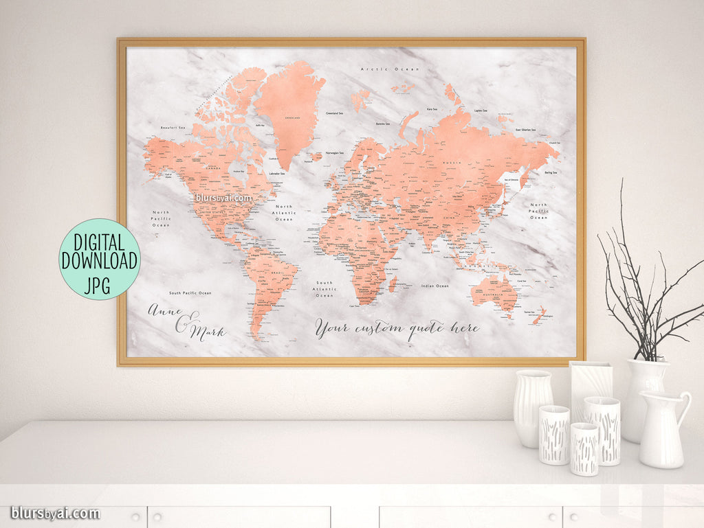 Custom printable world map with cities, capitals, countries, US States...  labeled. Color combination: \