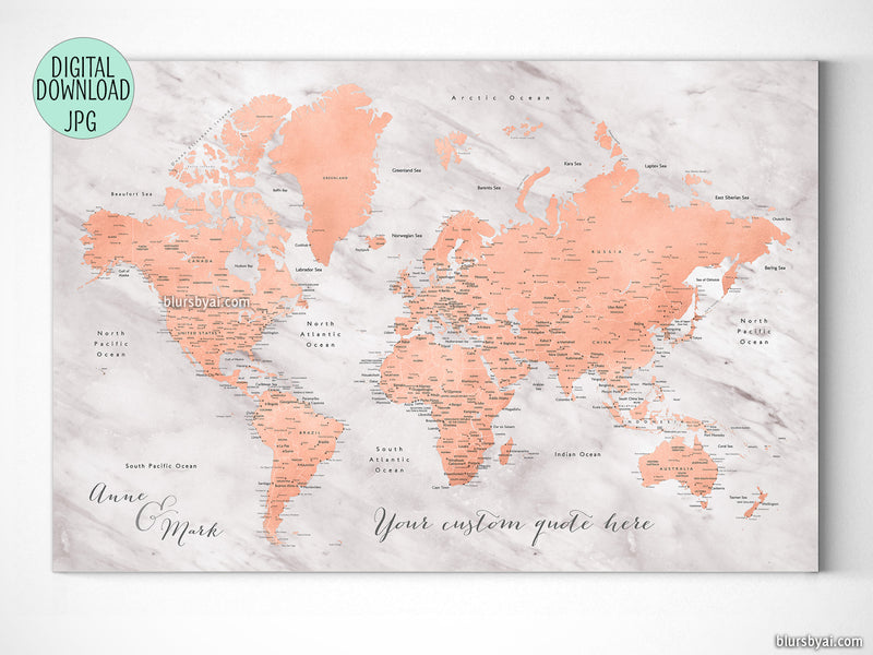 "Custom printable world map with cities, capitals, countries, US States... labeled. Color combination: ""Janine"""
