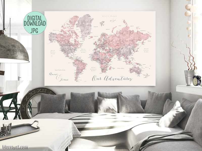 "Custom quote - watercolor printable world map with cities, in dusty pink, grey and nude. ""Kaia"""