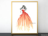 Printable fashion illustration: ombre coral gown