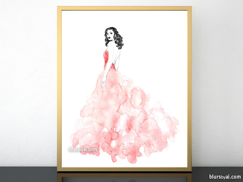 Printable fashion illustration: pink long dress in watercolor