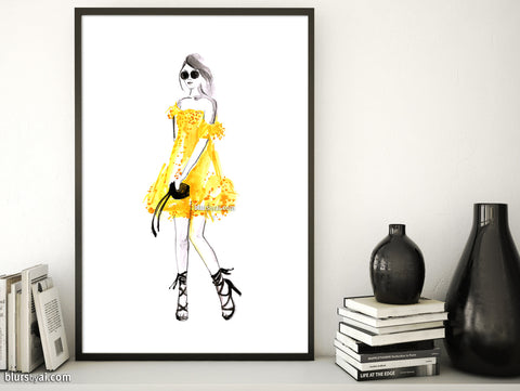 Printable fashion illustration: yellow summer dress and sunnies