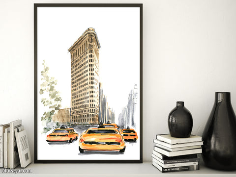 Printable architectural sketch: Flatiron building in Ny with yellow taxis