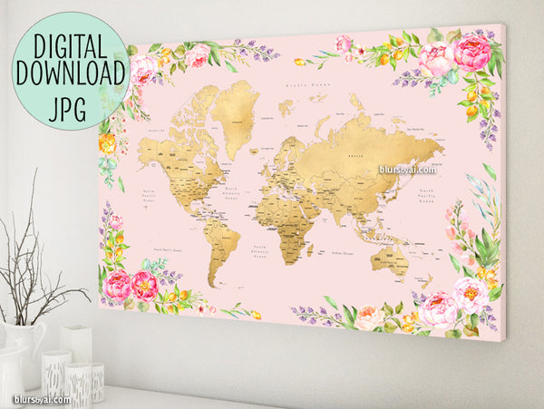 Printable floral world map with countries and states labelled, 36x24""
