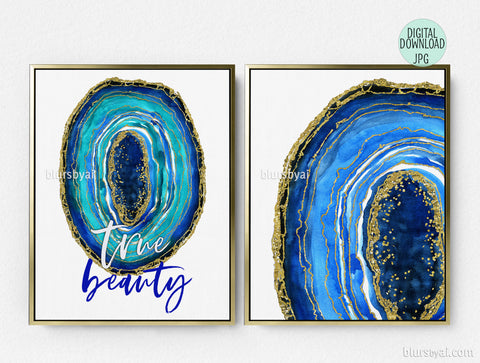 Printable watercolor geode, inspirational wall art, set of two