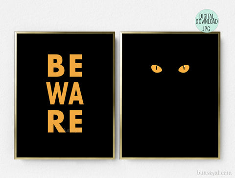 Printable Halloween decoration, beware and black cat eyes, set of two