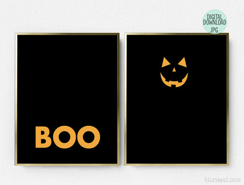 Printable Halloween decoration, boo and lantern, set of two