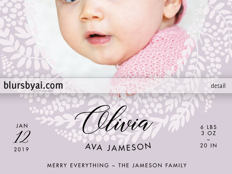 Custom printable Holiday photo card: new baby announcement with floral wreath