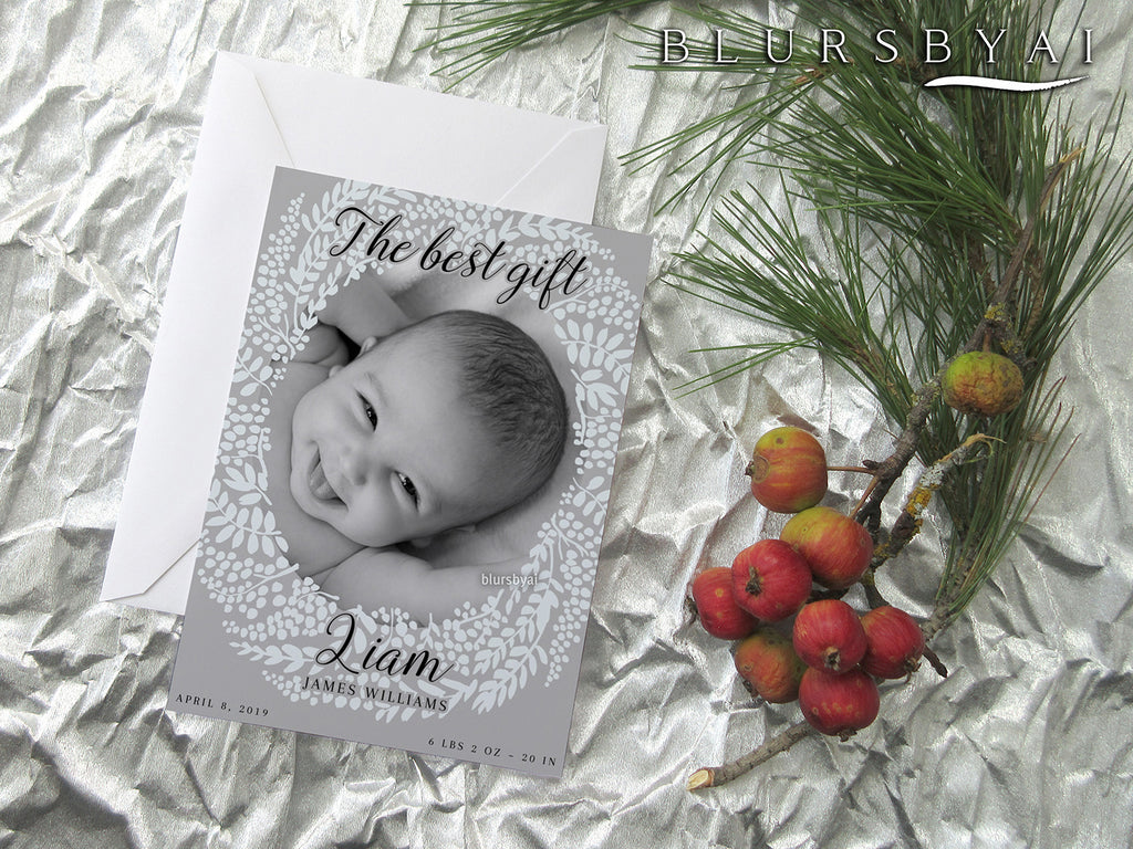 Personalized printable Christmas photo card: baby announcement with dainty wreath - Edit with Corjl