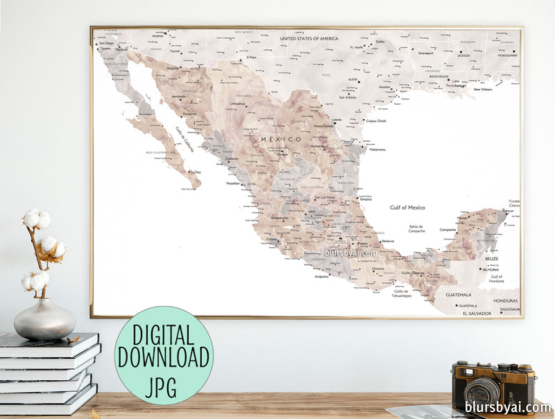 "PRINTABLE and detailed map of Mexico in neutral watercolor, ""Abey"" - For personal use only"