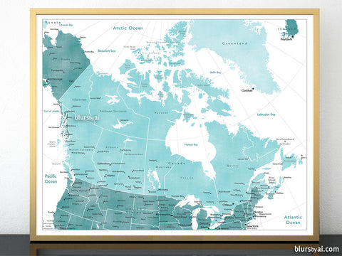 "20x16"" Printable map of Canada with provinces and main cities in distressed teal"