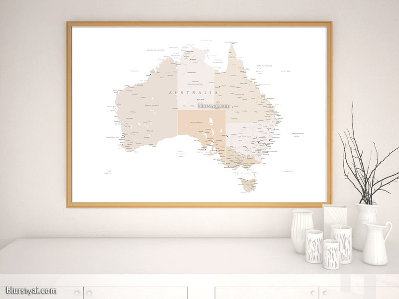 "Printable map of Australia with cities, 36x24"" and 60x40"" - For personal use only"