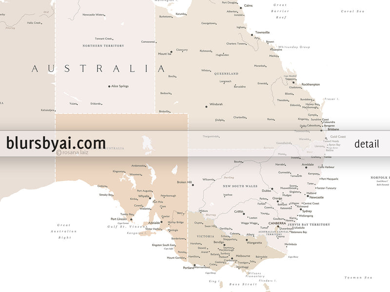 "Printable map of Australia with cities, 36x24"" and 60x40"""