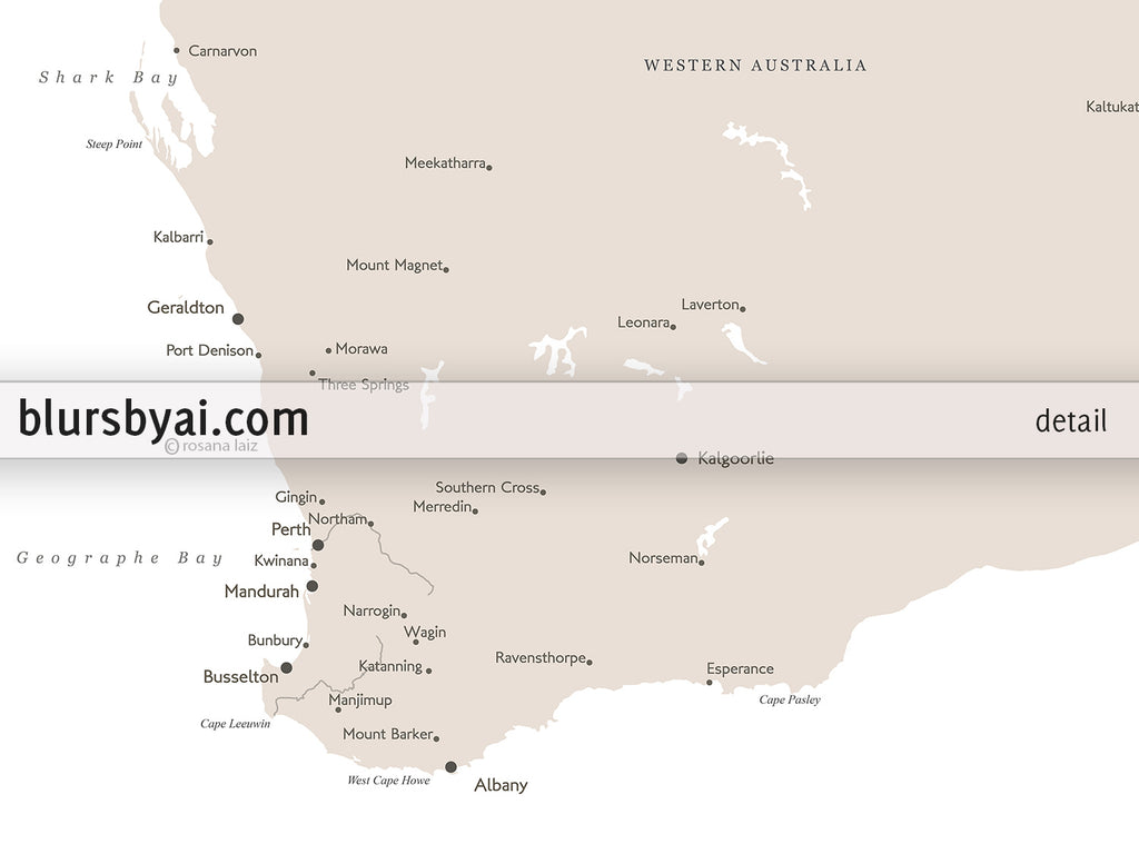 image about Printable Australia Map titled Printable map of Australia with towns, 36x24\