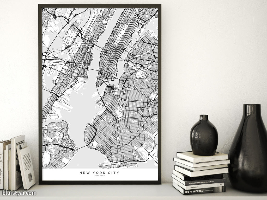 Printable map of New York City in minimalist scandinavian style - For personal use only