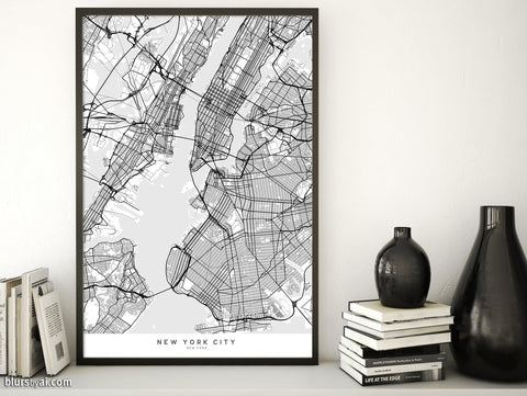 Printable map of New York City in minimalist scandinavian style