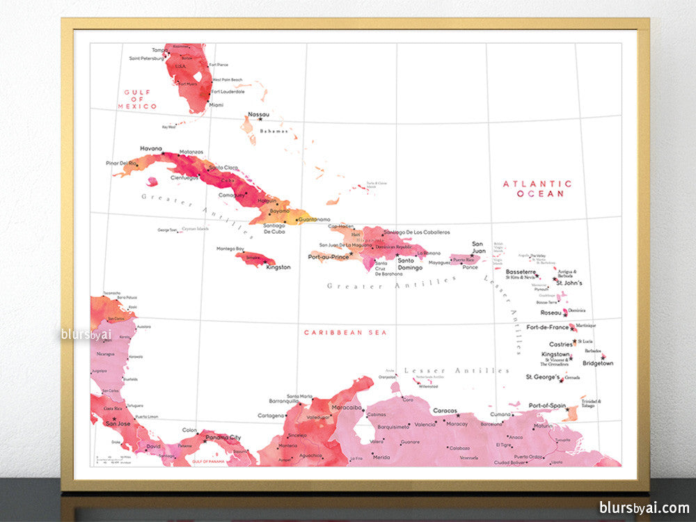 Printable map of the Caribbean Islands, with capitals and cities in on