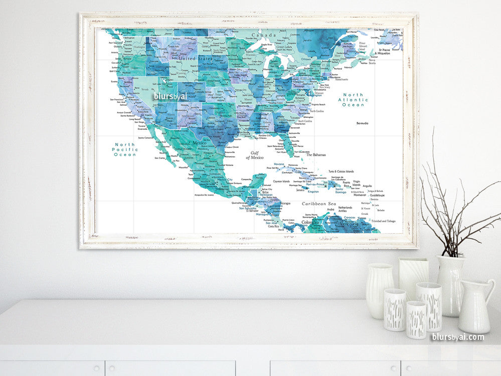 Printable Map Of The USA Mexico And The Caribbean Sea In - Map of usa and caribbean