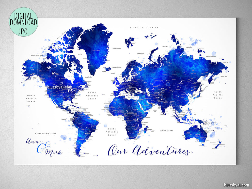 "Custom quote - navy blue and cobalt blue watercolor printable world map with cities. ""Carlynn"""