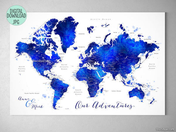 "Personalized - navy blue and cobalt blue watercolor printable world map with cities. ""Carlynn"""