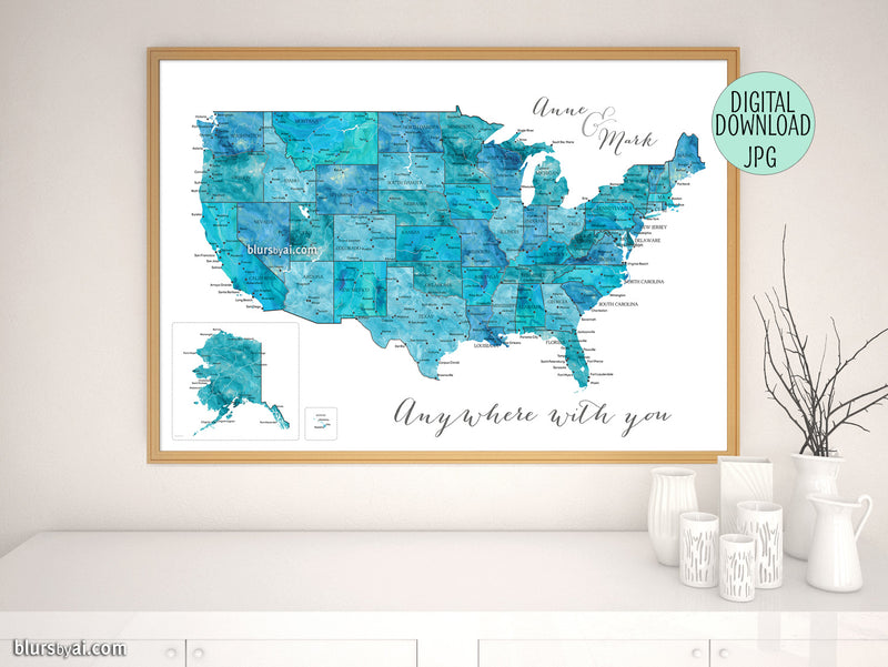 "Custom printable map of the usa with states and main cities in teal watercolor. ""Norvin"""