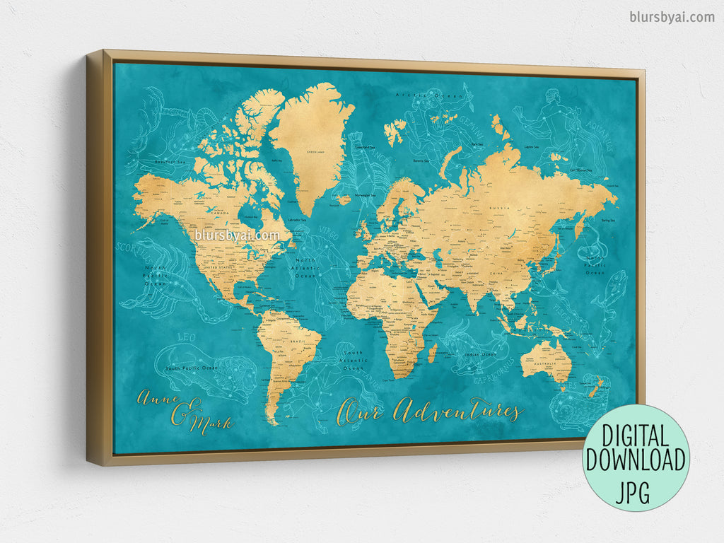 "Custom quote - gold and teal watercolor printable world map with zodiac constellations. ""Lexy"""