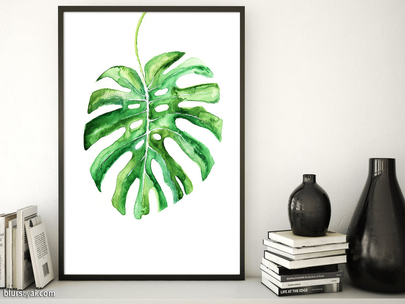 Monstera leaf illustration printable art - Personal use