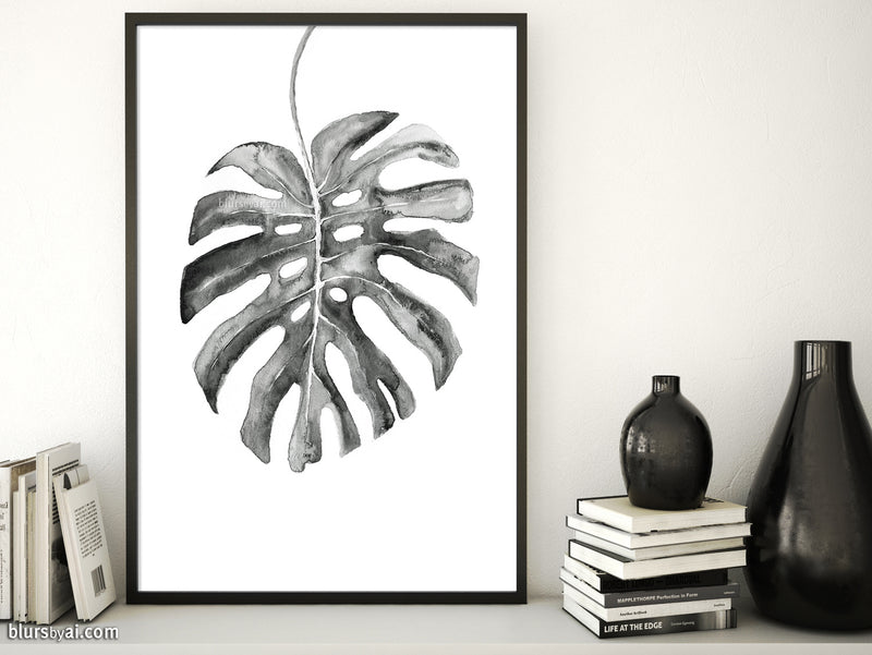 Monstera leaf illustration printable art in black and white - Personal use