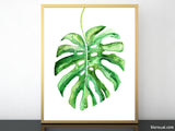 Monstera leaf illustration printable art