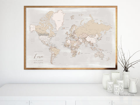 Love is the greatest adventure, printable world map with cities in rustic style, 36x34""