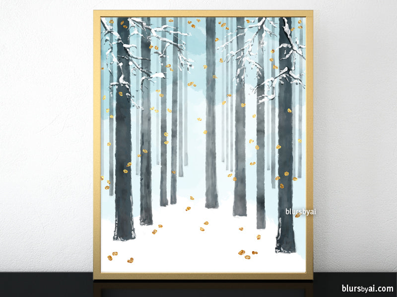 Snowy forest printable art - Personal use