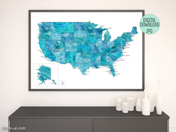 "Printable teal watercolor map of the USA with cities, 36x24"" and 60x40"""