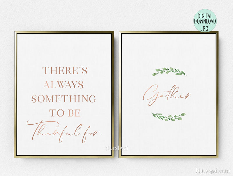 Printable Thanksgiving decoration, Gather and Thankful for, set of two - Personal use