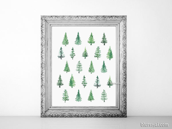 Abstract watercolor pine trees