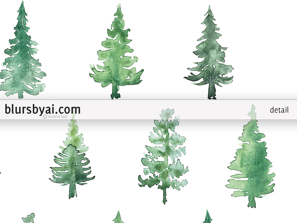 Abstract watercolor pine trees printable art - Personal use