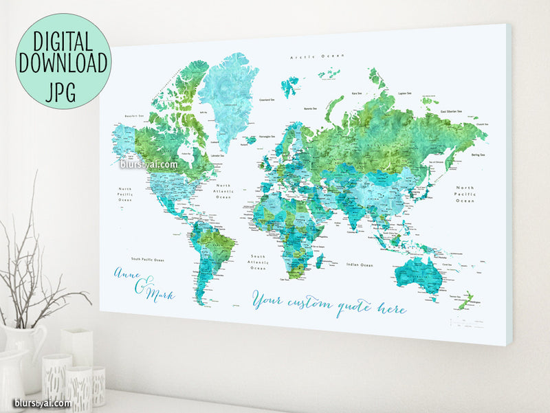 "Custom quote - blue and green watercolor printable world map with cities, capitals, countries, US States... labeled. ""Tropic"""
